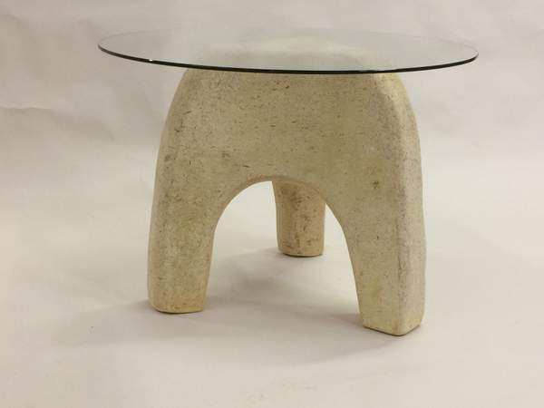 Tom sippel carved mycelium mushroom three legged table grande