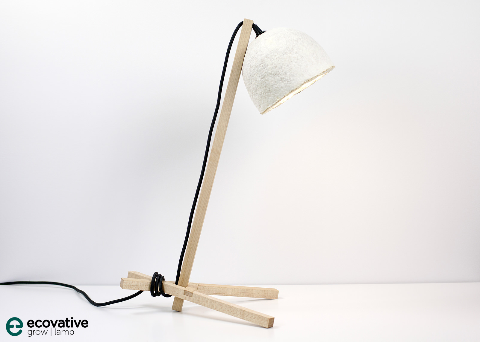 Ecovative Grown Mycelium Table Lamp Pine Wood